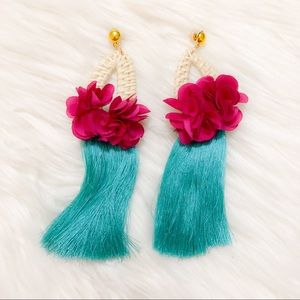 Pink and teal flower tassel statement earrings